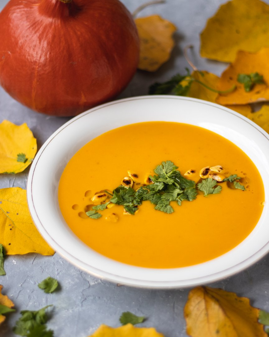 Pumpkin Soup with red curry and coconut milk